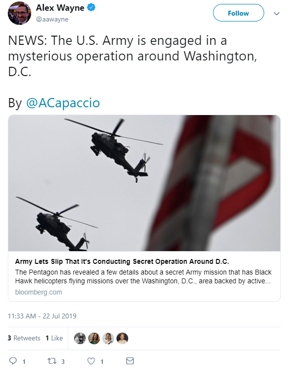 QAnon July 22 2019 - Be Ready - US Army over DC