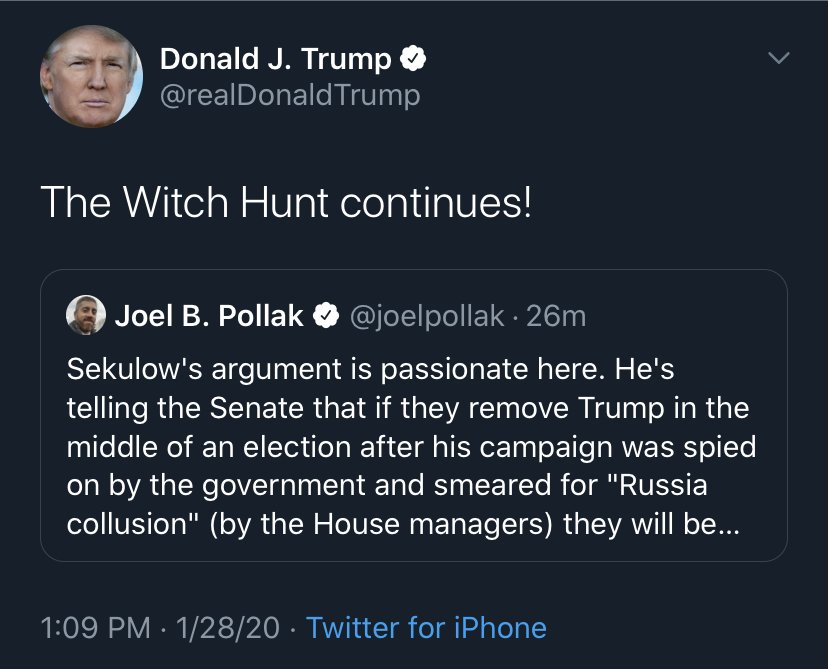 QAnon January 28 2020 - Witch Hunt
