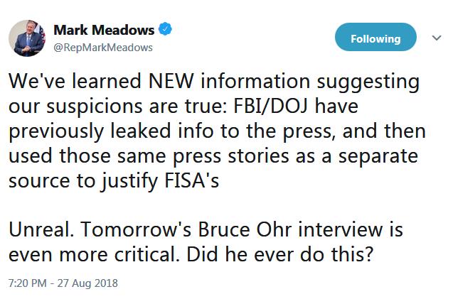 MMeadows FISA Ohr Leaks 8-27-18