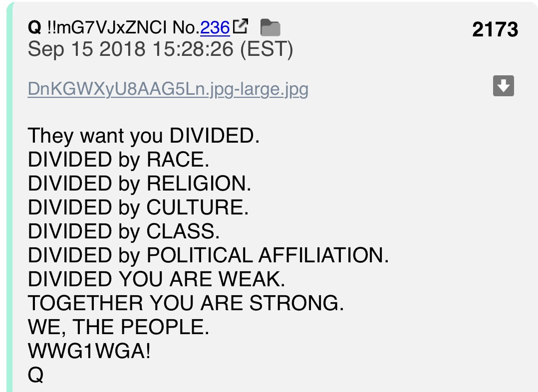 QAnon July 16 2019 - They Want You Divided