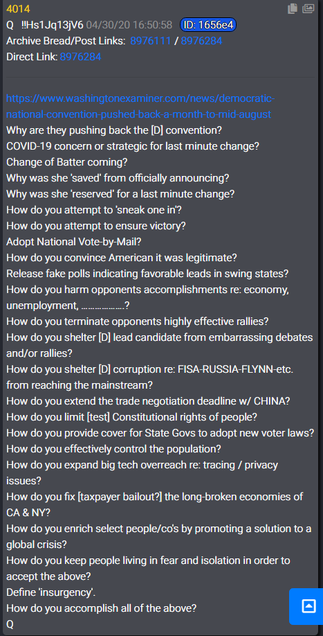 QAnon 3 May 2020 - The ultimate plan of the Dems. Hillary for President while obama is her VP