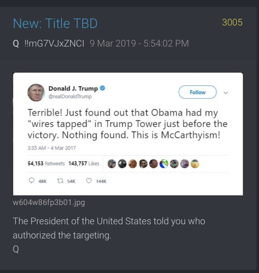 QAnon 13 Marzo 2019 - Trump Tweet March 4 2017