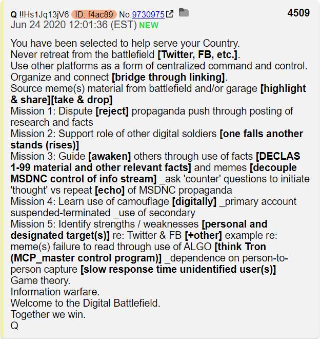 QAnon 26 June 2020 - Information Warfare
