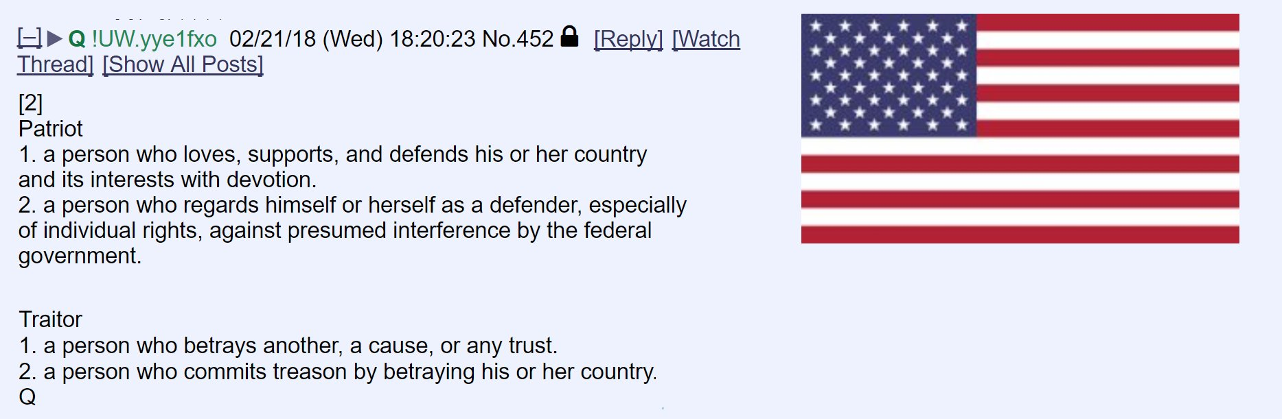 QAnon March 18 2019 - PATRIOT VS. TRAITOR