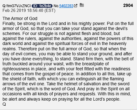 QAnon 26 February 2020 - The Armor of God