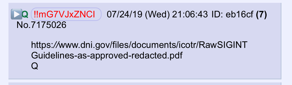QAnon July 25 2019 - Important. [Signature page]