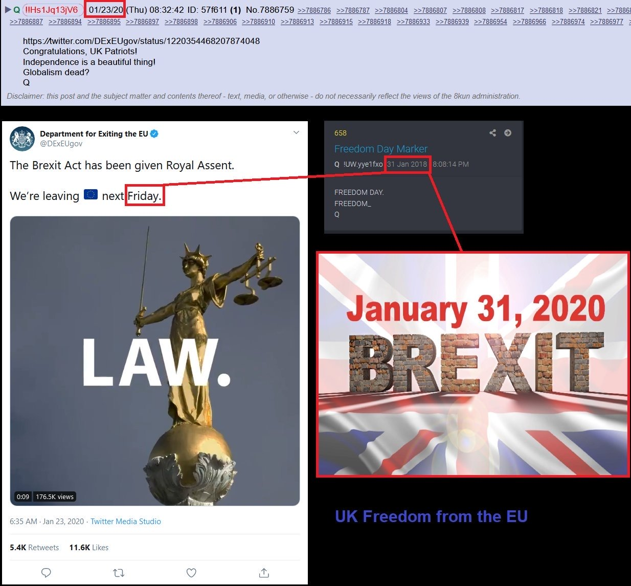 QAnon January 28 2020 - Brexit confirmed 2 years ago
