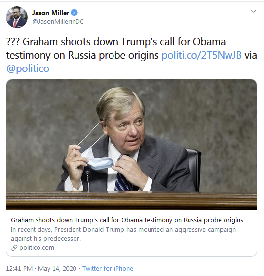 ??? Graham shoots down Trump's call for Obama testimony on Russia probe origins
